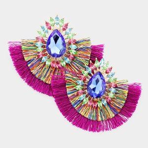 Teardrop Stone Fan Tassel Earrings